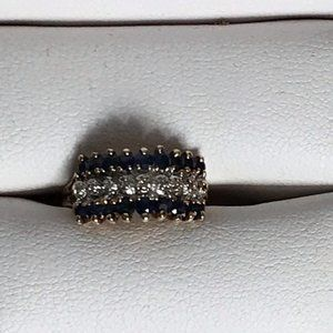 Diamond and Sapphire Ring size 4